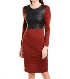 BCBGMaxazria Maroon Colorblock Sheath Dress