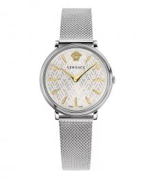Versace Silver V Circle Watch