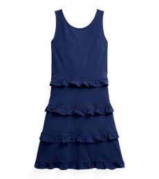 Ralph Lauren Girls French Navy Ruffled Dress