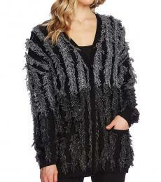 Rich Black Colorblock Fringe Sweater Top