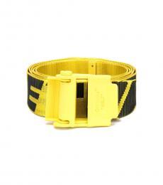 Off-White Yellow-Black Logo Industrial Belt