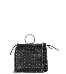 Balmain Black Studded Small Bucket Bag