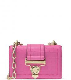 Versace Jeans Pink Textured Small Shoulder Bag