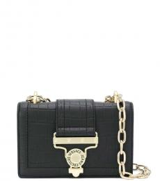 Versace Jeans Black Textured Small Shoulder Bag