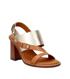 Tod's Brown Gold Leather Heels