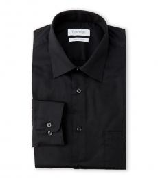 Black Dobby Regular Fit Stretch Dress Shirt