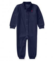 Baby Boys Navy Polo Coverall