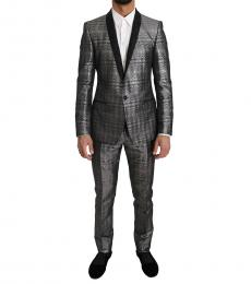 Metal Gray Shiny Gold 2 Piece Slim Suit