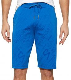 Blue Diagonal Tonal Logo Shorts