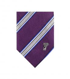Versace Violet Grey Stripe Silk Tie