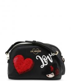 Love Moschino Black Love Heart Medium Crossbody