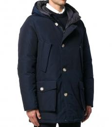 Navy Blue Button Hooded Coat