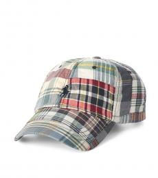 Ralph Lauren Red Patchwork Madras Ball Cap