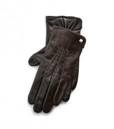 Ralph Lauren Black Stitched Tech Gloves