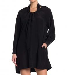 Diane Von Furstenberg Black Neck Tie Silk Shift Dress