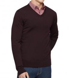 Calvin Klein Dark Brown Merino V-Neck Sweater