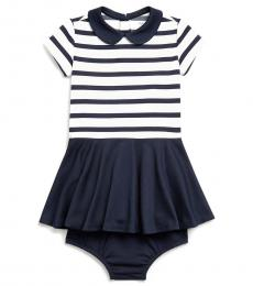 Baby Girls Navy/Cream Two-Tone Ponte Dress