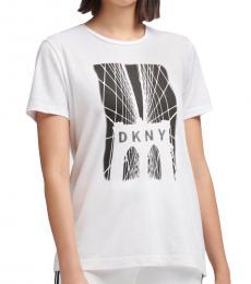 DKNY White Brooklyn Bridge Logo T-Shirt