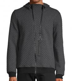 Karl Lagerfeld Charcoal Textured Hooded Jacket