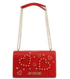 Love Moschino Red Studded Heart Medium Shoulder Bag