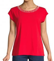 Flame Scarlet Embellished-Neck Top