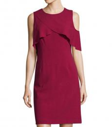 Karl Lagerfeld Maroon Sleeveless Crepe Sheath Dress