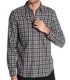 Dark Grey Plaid Printed Shirt