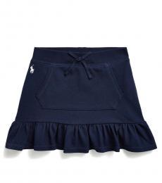 Little Girls French Navy Ruffled Scooter Skirt