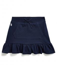 Ralph Lauren Little Girls French Navy Ruffled Scooter Skirt