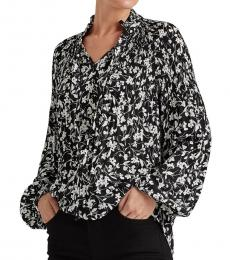 Polo Black Floral-Print Georgette Top