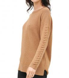 Calvin Klein Beige Braided Sleeve Sweater