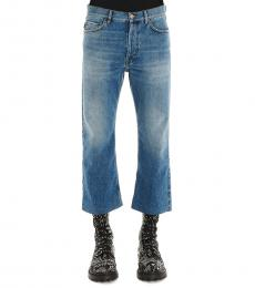 Balenciaga Blue Cropped Solid Jeans