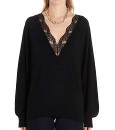 Black Lace Insert Wool Sweater