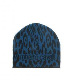 Roberto Cavalli Black-Aquamarine Jaguar Beanie