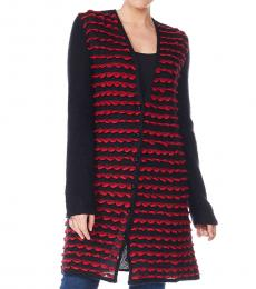 Emporio Armani Black/Red Knitted Wool Jacket