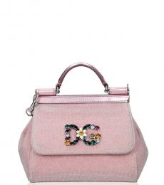 Pink Embellished Logo Mini Satchel