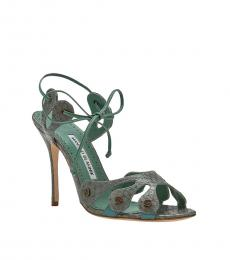 Green Snake Print Heels
