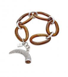 Ralph Lauren Horn Tortoise Silver Tone Toggle Bracelet