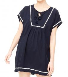 Navy Blue Rickrack Cover-Up Tunic