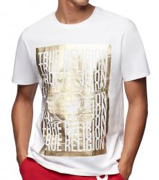 True Religion White Gold Logo T-Shirt