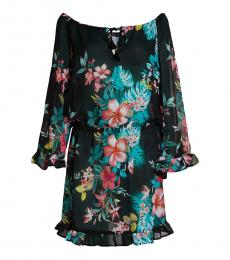 Tommy Bahama Black Flora Ruffle Dress