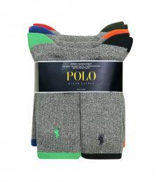 Grey 6-Pair Tipped Crew Socks Set