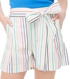 J.Crew White Striped Tie-Waist Short