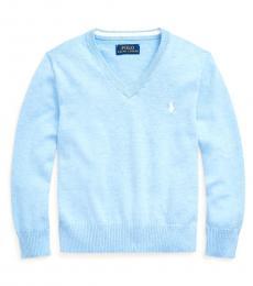 Little Boys Medium Blue Heather V-Neck Sweater
