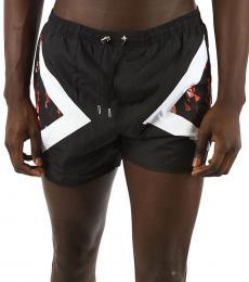 Neil Barrett Black Floral Boxer Beachwear