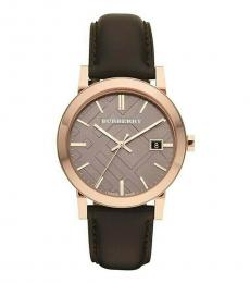 Burberry Dark Brown-Rose Gold Logo Watch