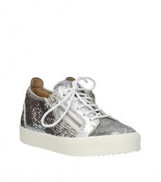 Giuseppe Zanotti Silver Sequined Low Top Sneakers