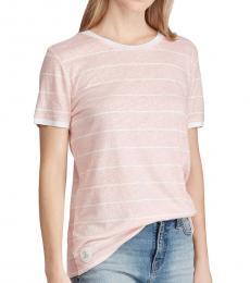 Ralph Lauren Pink Linen Blend Striped Tee