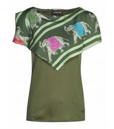 Emporio Armani Green Playful Elephant Print Top
