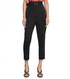 BCBGMaxazria Black Pleated High-Waist Pants
